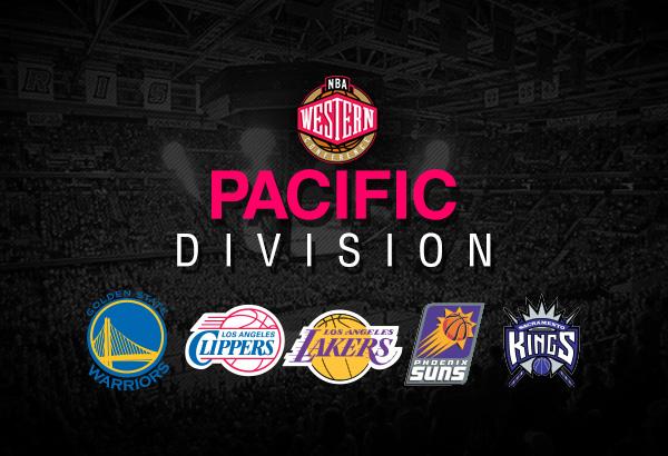 Les 5 différentes équipes de la division Pacifique de la conférence Ouest: Golden State Warriors, L.A Clippers, Los Angeles Lakers, Phoenix Suns, Sacramento Kings