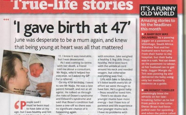 Image: True Life Stories: I Gave Birth at 47, posted by Ann Wilkinson