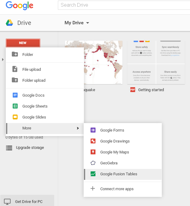 Create a new google fusion table