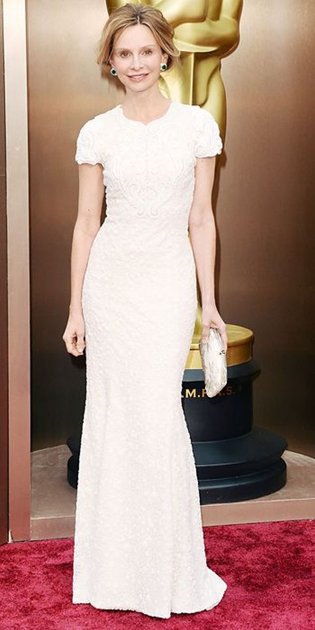 Calista Flockhart in a white column Andrew Gn gown at the Oscars 2014