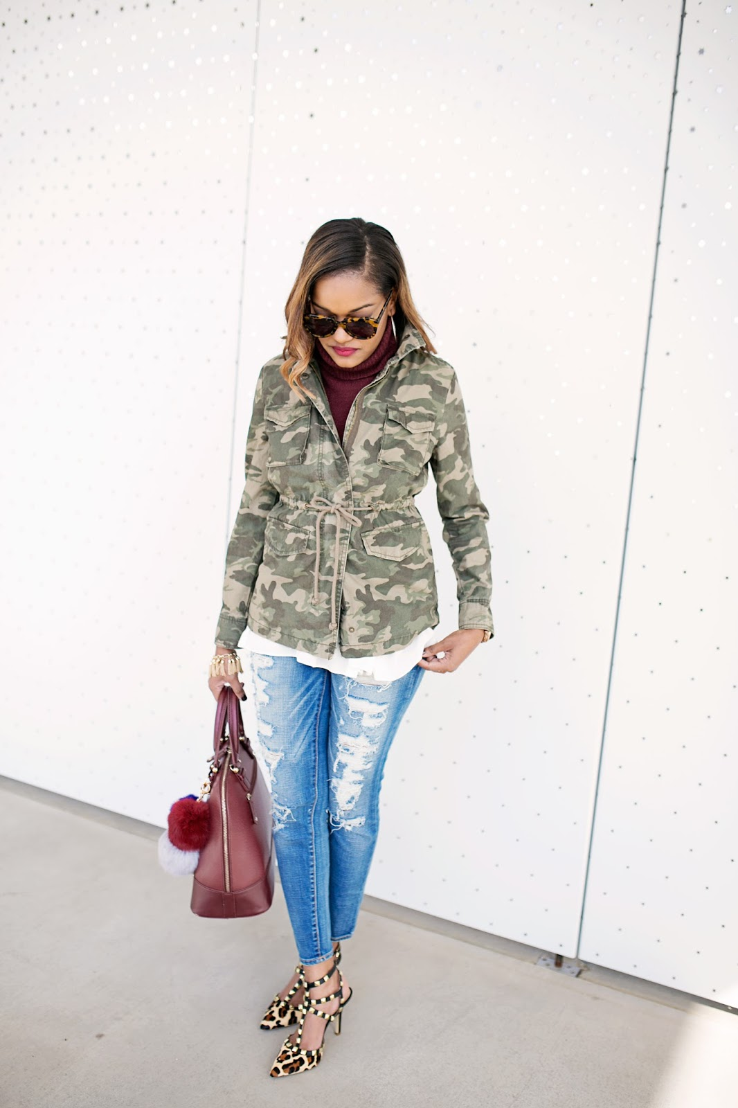 OLD NAVY CAMO JACKET- SLEEVELESS CROPPED TURTLENECK FOREVER 21- RIPPED ANKLE JEANS AMERICAN EAGLE-FAUX FUR POM POM- LEOPARD HEELS- BCBGENERATION LEOPARD PUMPS- VALENTINO LOOK FOR LESS PUMPS- HOW TO PRINT MIX LEOPARD- KAREN WALKER NUMBER ONE SUNGLASSES- FASHION BLOGGER- BROWN GIRL BLOGGER- BLACK BLOGGER- DALLAS BLOGGER