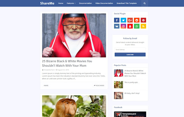 ShareMe Responsive Viral Personal Blog Clean Simple Minimalist Faster Blogger Template Theme