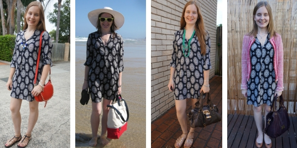 4 ways to wear a navy printed tunic dress with a pop of colour | awayfromblue