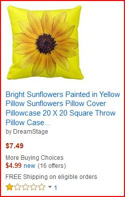 Amazon Seller DreamStage selling my copyrighted art Bright Sunflowers
