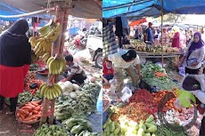 Menjual hasil pertanian di pasar dadakan GOR Lapang Bintang Subang