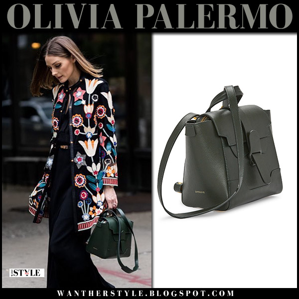 Olivia Palermo in floral jacket with dark green senreve maestra leather bag street fashion august 2018