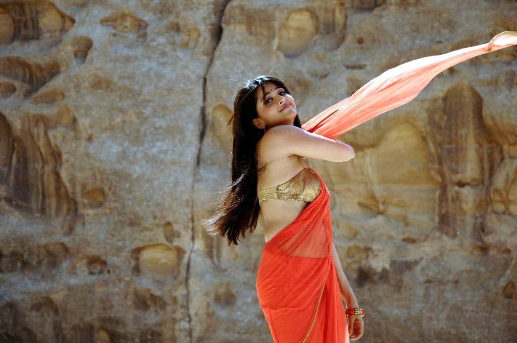 Hot Hip Photos Of Anushka Shetty In Orange Saree