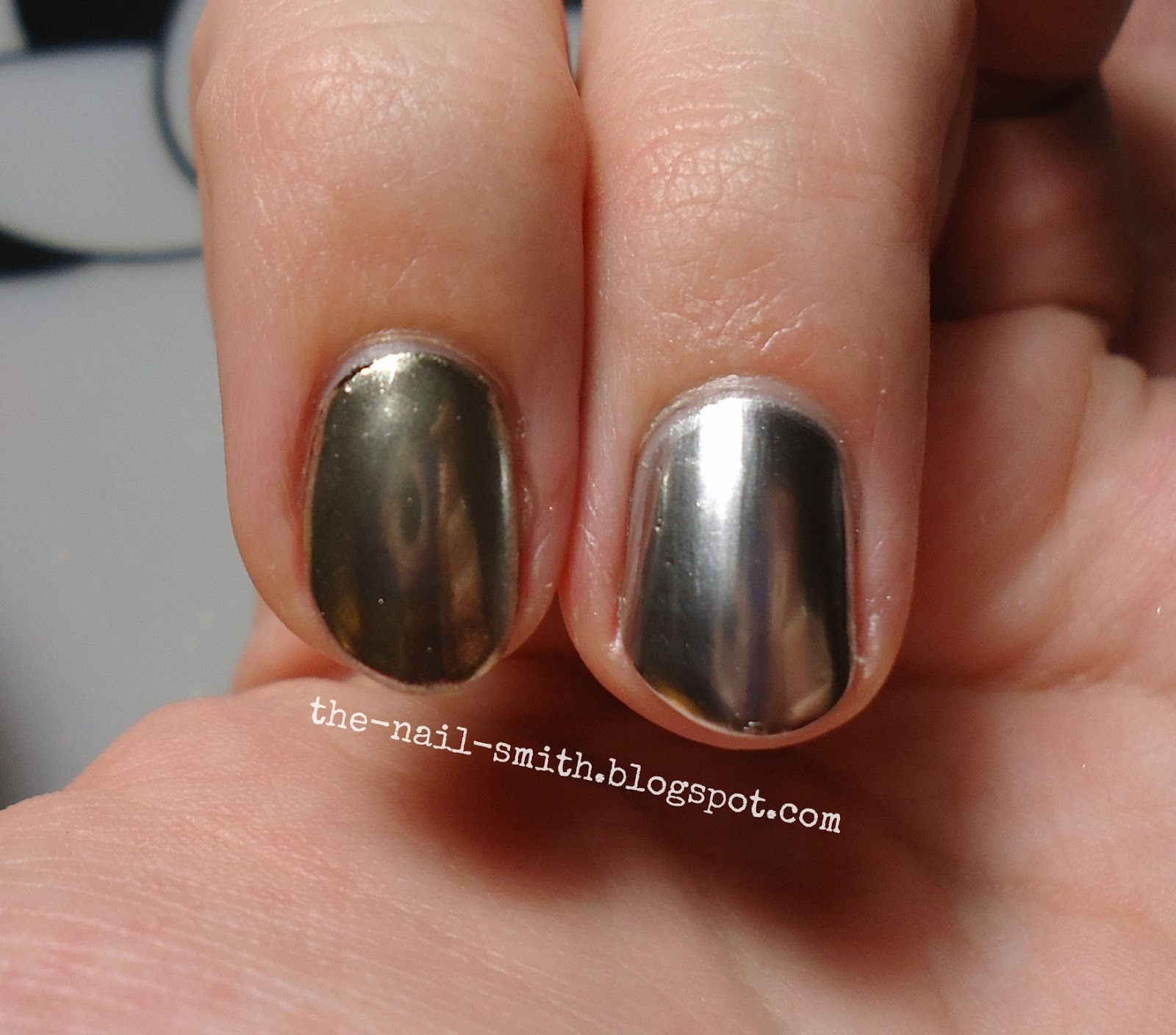 In The Pictures Above And Below I Have Mirror Powder On Left Nail Following All Steps Right Lied Bps