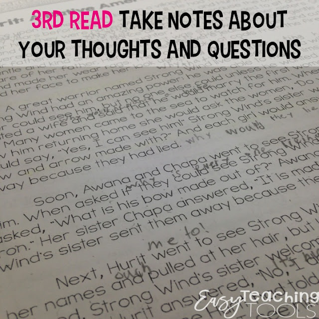 Close Reading Strategy: During our third read, students read the story on their own and take notes about what they read.  If this is your first time annotating, or reading with a pencil,  model this for them several times before letting them do this on their own.