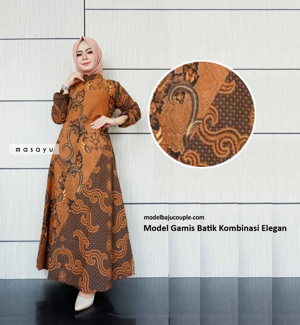 32+ Vogue Gamis Batik Pesta Kombinasi Satin, Sifon, Brokat