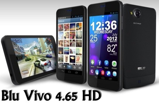 BLU Vivo 4.65 HD Specifications - LAUNCH Announced 2012, December  D920 - Single SIM D930 - Dual SIM DISPLAY Type Super AMOLED capacitive touchscreen, 16M colors Size 4.65 inches (~63.1% screen-to-body ratio) Resolution 720 x 1280 pixels (~316 ppi pixel density) Multitouch Yes BODY Dimensions 135 x 70 x 8.6 mm (5.31 x 2.76 x 0.34 in) Weight 130 g (4.59 oz) SIM Dual SIM (Mini-SIM, dual stand-by) PLATFORM OS Android OS, v4.0 (Ice Cream Sandwich) CPU Dual-core 1.2 GHz Cortex-A9 Chipset Mediatek MT6577T GPU PowerVR SGX531u MEMORY Card slot microSD, up to 32 GB (dedicated slot) Internal 4 GB, 1 GB RAM CAMERA Primary 8 MP, autofocus, LED flash Secondary 1.3 MP Features Geo-tagging, touch focus, face/smile detection Video 720p@30fps NETWORK Technology GSM / HSPA 2G bands GSM 850 / 900 / 1800 / 1900 - SIM 1 & SIM 2 3G bands HSDPA 850 / 1900 - D930a    HSDPA 850 / 2100 - D930i Speed HSPA 7.2/5.76 Mbps GPRS Yes EDGE Yes COMMS WLAN Wi-Fi 802.11 b/g NFC Yes GPS Yes, with A-GPS USB microUSB v2.0 Radio Stereo FM radio Bluetooth Bluetooth v3.0 FEATURES Sensors Sensors Accelerometer, gyro, proximity, compass Messaging SMS(threaded view), MMS, Email, Push Email, IM Browser HTML, Adobe Flash Java No SOUND Alert types Vibration; MP3, WAV ringtones Loudspeaker Yes 3.5mm jack Yes BATTERY  Removable Li-Ion 1600 mAh battery Stand-by Up to 450 h (2G) / Up to 300 h (3G) Talk time Up to 20 h 40 min (2G) / Up to 9 h 20 min (3G) MISC Colors Black  - MP3/AAC/WMA/WAV player - MP4/DivX/XviD/WMV/H.264 player - Document editor
