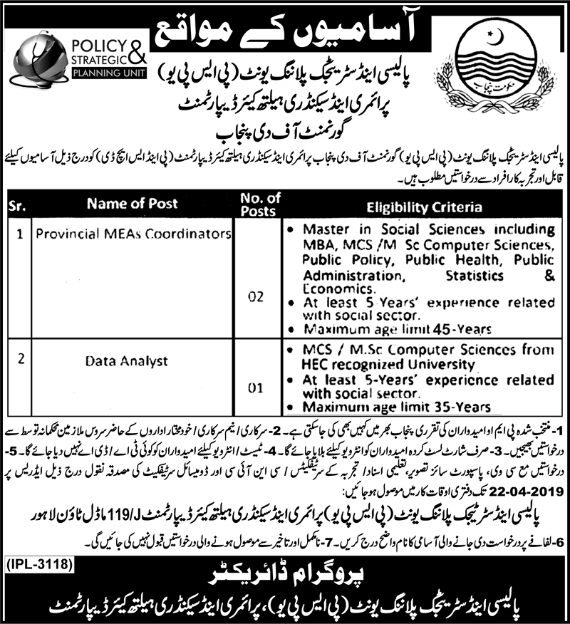 Advertisement for Healthcare Department Punjab Jobs