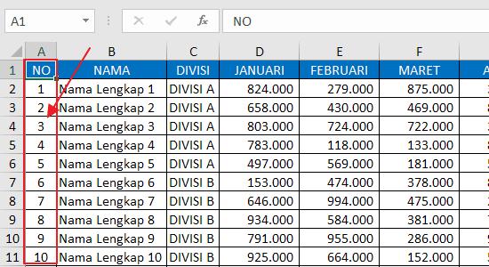Cara Freeze Panes Kolom Pertama Excel 1
