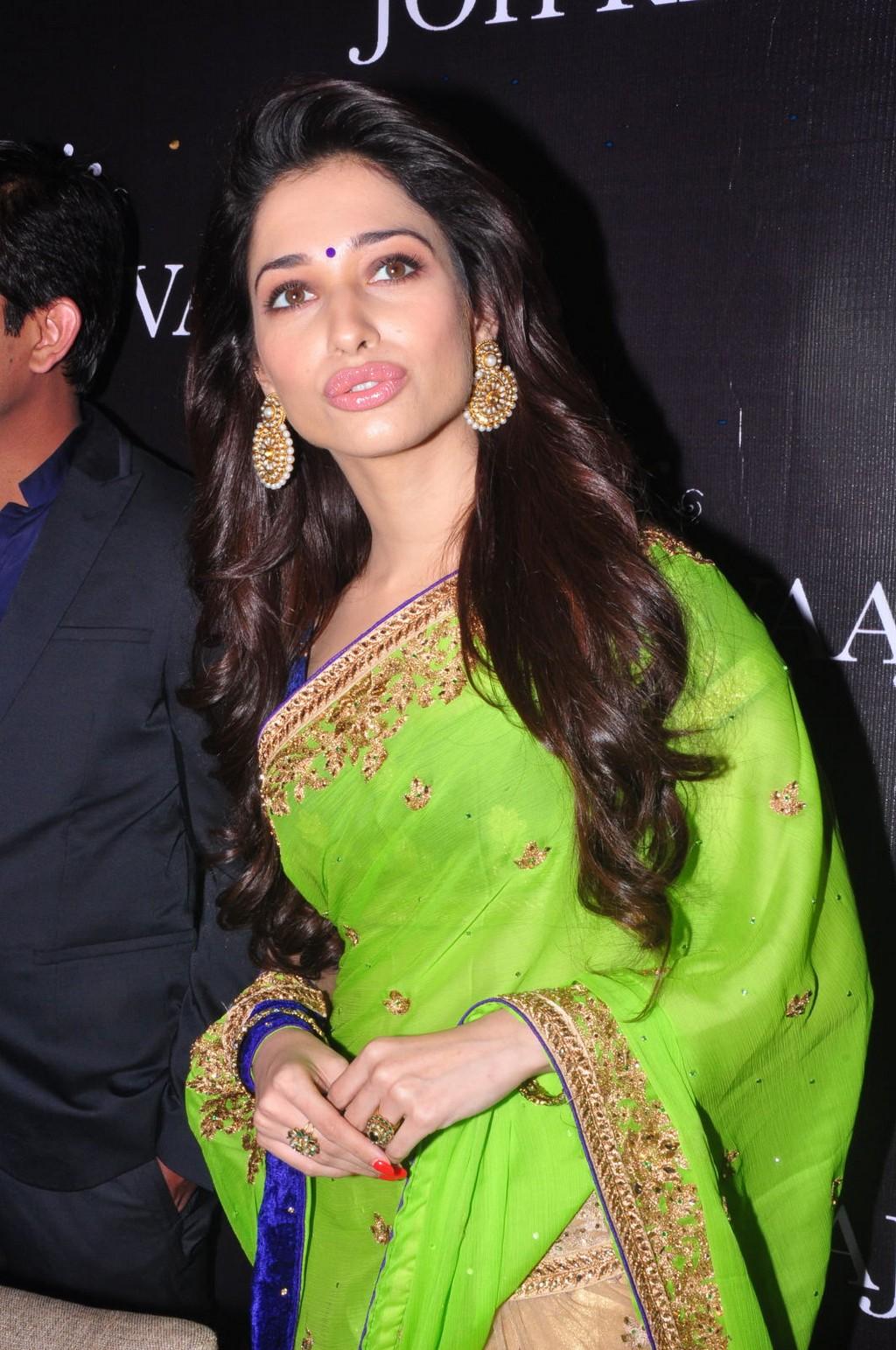 Tamanna Latest Hot Navel Show Stills In Green Saree