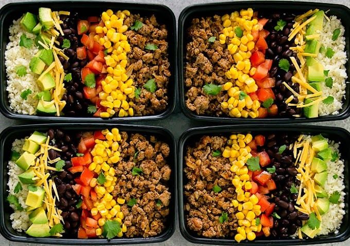 TURKEY TACO BOWLS WITH CAULIFLOWER RICE MEAL PREP #dinner #mixrecipe