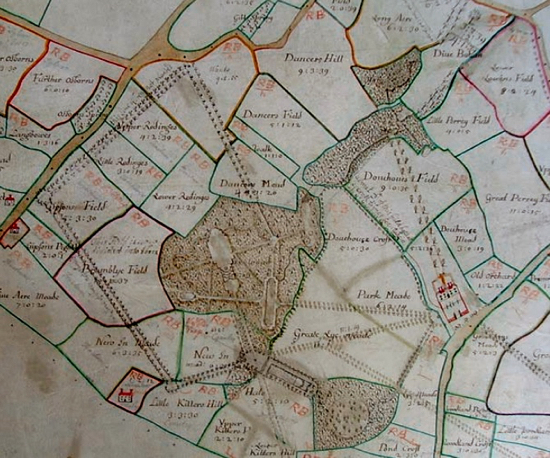 Plate V. The 'Holmes map' of the Gobions estate, Hertfordshire, surveyed by Thomas Holmes   (undated, early eighteenth century), north is towards bottom right.   Courtesy: Gloucester Record Office (Ref: D1245/FF75)