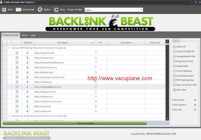 تحميل برنامج backlink beast لزيادة الباك لينك مع الشرح