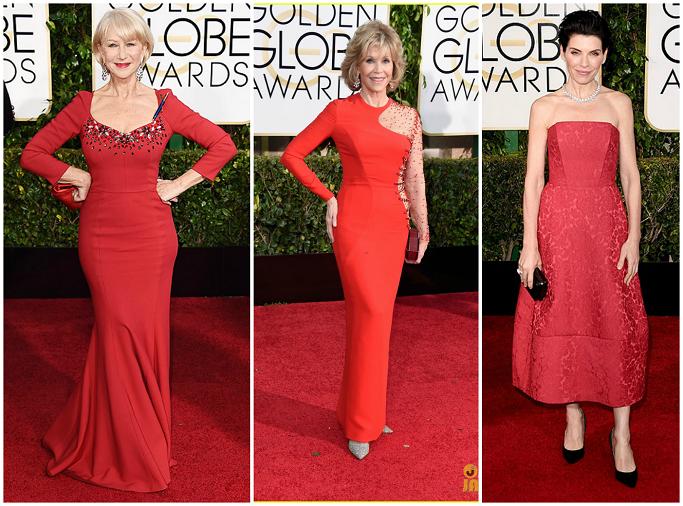 Helen Mirren at Golden Globes Red Carpet Jane Fonda at Golden Globes Red Carpet Juliana Margulies in Ulyana Sergeenko at Golden Globes Red Carpet