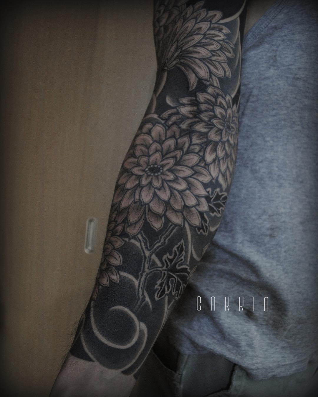 Flowers Tattoo Black Arm Tattoo Tattooed Tattoos: Ideas For Best Tattoos: Sleeve Tattoos