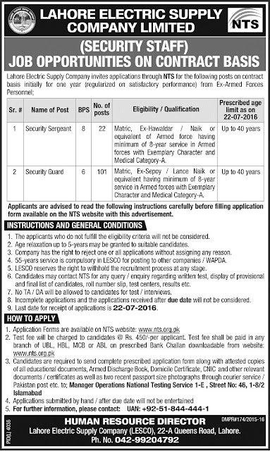 Government Jobs in LESCO Jobs in Lahore Electric Supply Company Limited WAPDA Jobs