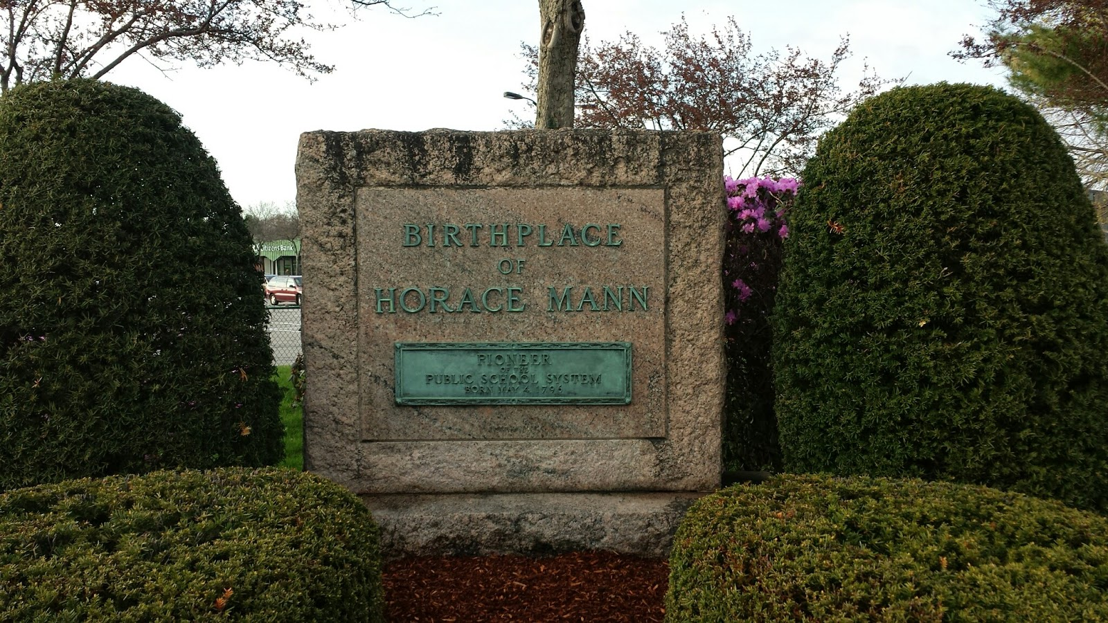 Horace Mann birthplace monument - Shaw's Plaza