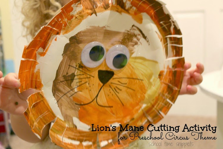 preschool lion cutting acitivity