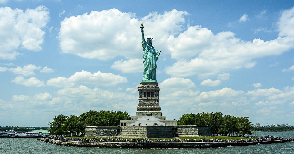 Protester's climb close down Statue of Liberty on July 4