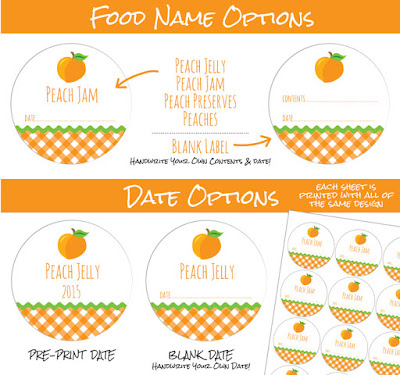 peach jam jelly & preserves canning jar labels