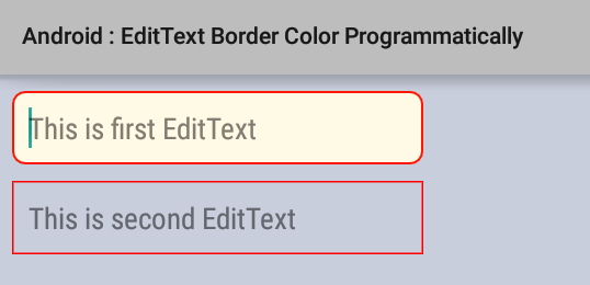 How to set EditText border color programmatically in Android