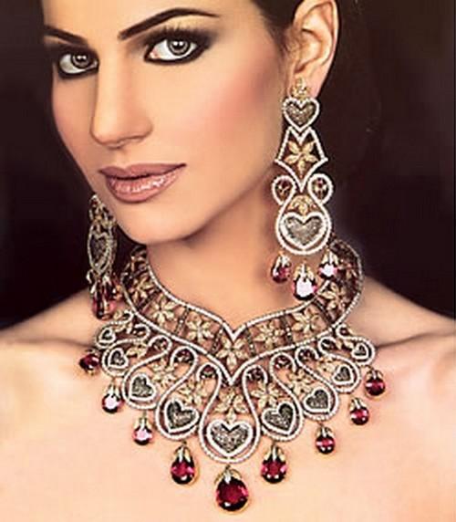 Apara Bridal Pearl Lct Stones Gold Necklace Set Jewellery: Latest Indian Sudani Pakistani Arabic Arabian Mehndi