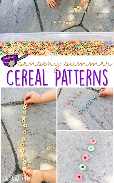 Practice fine motor skills and patterns with this cereal filled sensory bin! This is a perfect activity for summer tot school, preschool, or kindergarten!