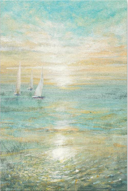Ocean Beach Sunrise over Sea with Sailboats