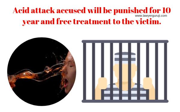 """भारतीय दण्ड संहिता """" की धारा 326 A और 326 B तेज़ाब फेंकने वाले दोषी को 10 साल की सजा और पीड़िता को निशुल्क प्राथमिक उपचार का प्रावधान। Acid attack accused will be punished for 10 year and free treatment to the victim."""
