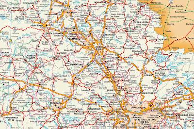 Mapa rodoviário da região de Campinas