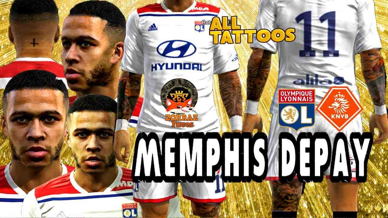 Ultigamerz Pes 2013 Memphis Depay Lyon Face Tattoo 2019