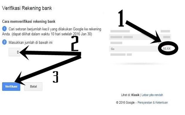 Cara memasukkan 3 digit angka saldo dari google AdSense - GA
