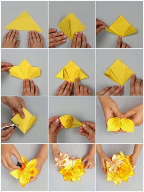 DIY Origami Flower Ball Idea 1