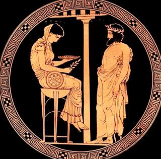Dibujo grabado en un ánfora griega.