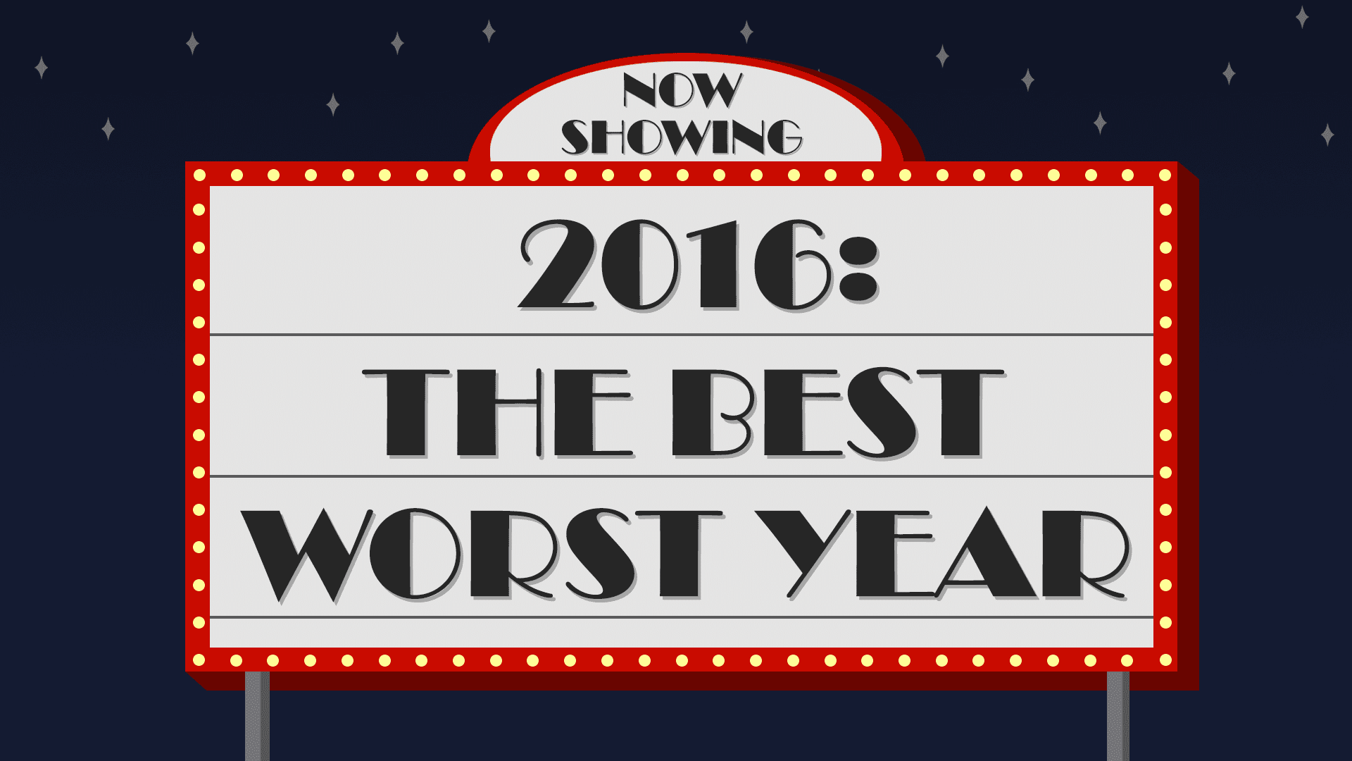 "A movie sign showing ""2016: The Best Worst Year"" at night."