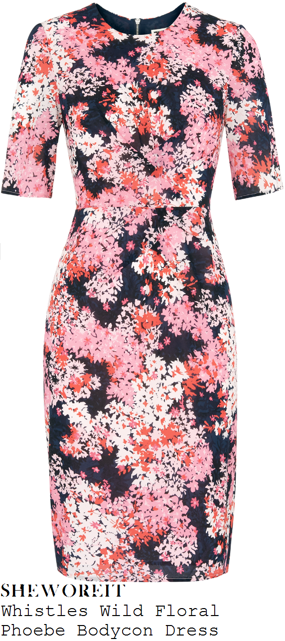 susanna-reid-whistles-phoebe-pink-red-white-navy-blue-and-black-wild-floral-print-half-sleeve-pleat-detail-bodycon-dress-good-morning-britain