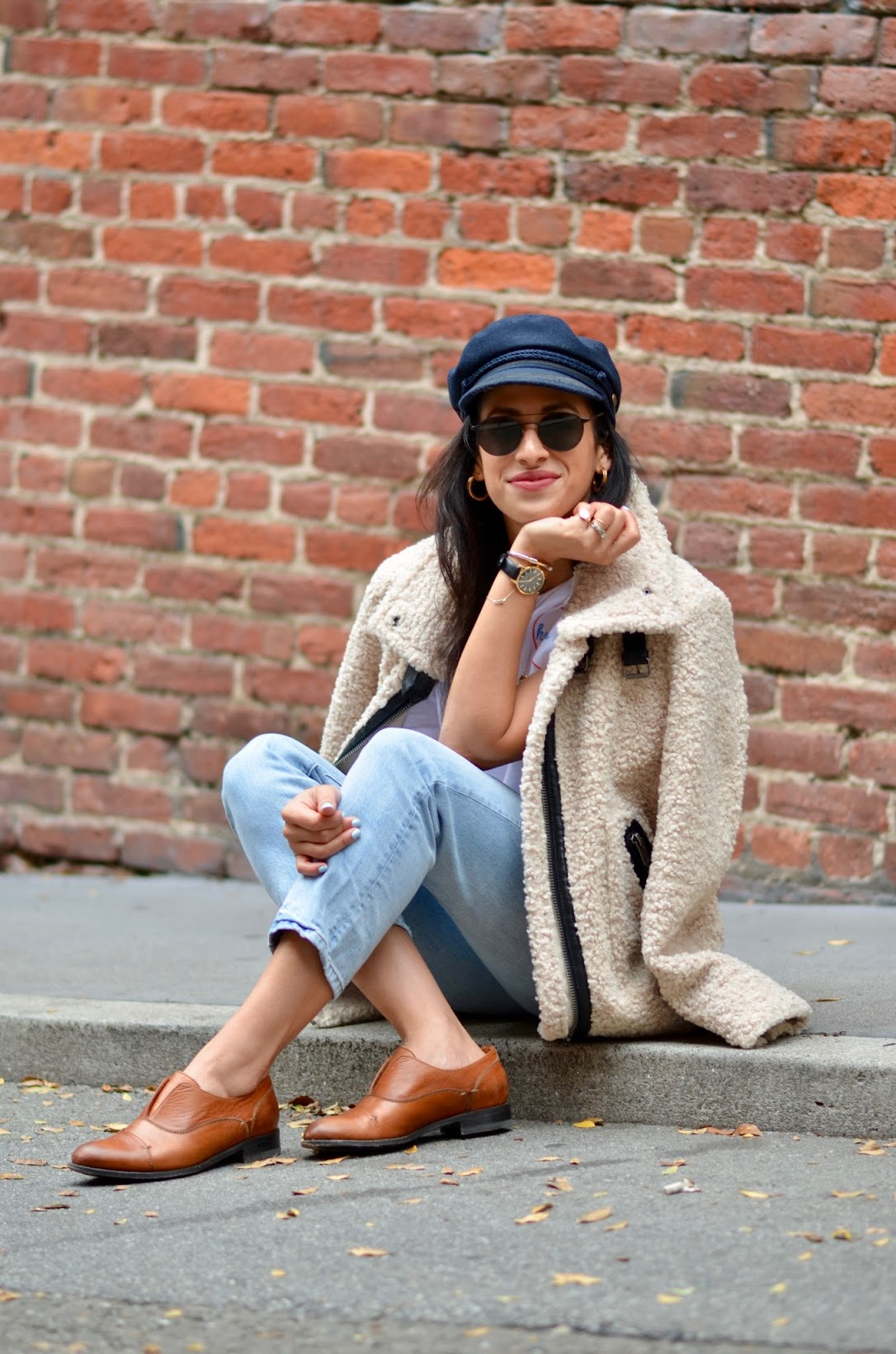 Le Point SF boutique, Keur Paris tee, San Francisco winter style, sherpa coat, Baker Boy hat, YSL glow shot, casual weekend wear