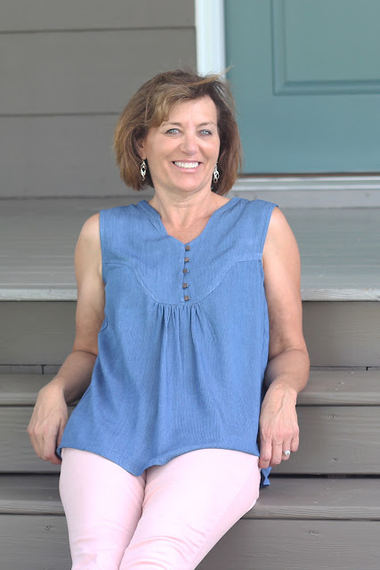 Indiesew's Valencia Tunic in Rayon Denim Shirting - great for summer