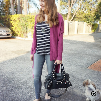 awayfromblue instagram purple cardigan with monochromatic stripe tank skinny jeans spring outfit