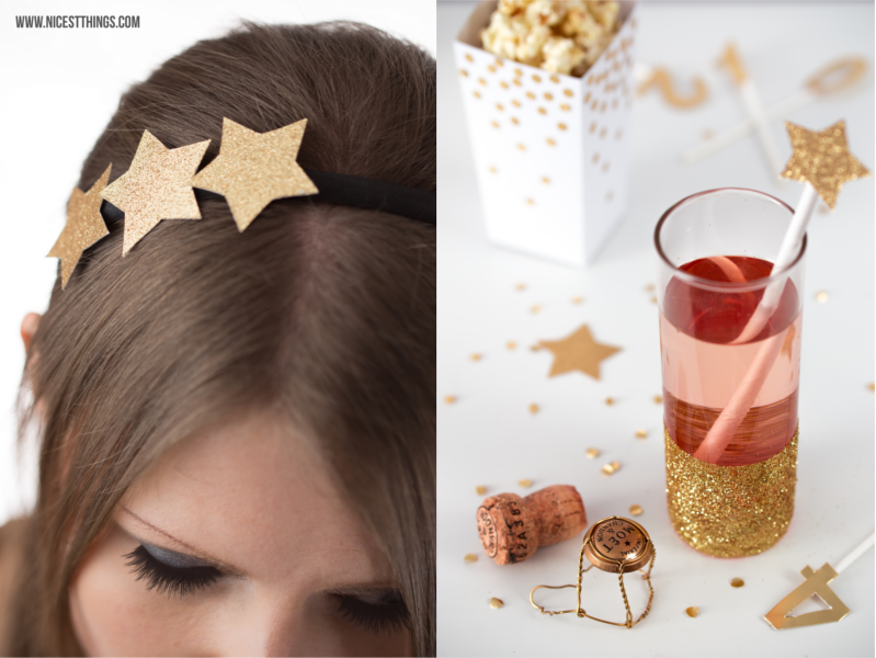 Silvester DIY Deko Ideen Haarreif Sterne Glitter Gläser