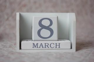 """A desk calendar reading """"8 MARCH"""""""