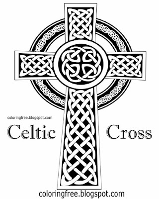 Complex black and white clipart Celtic cross of Ireland Saint Patrick's Day colouring for adults art