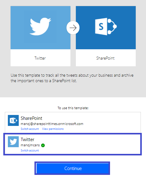Sharepoint times microsoft flow save tweet that include a special step4 fill template values pronofoot35fo Choice Image