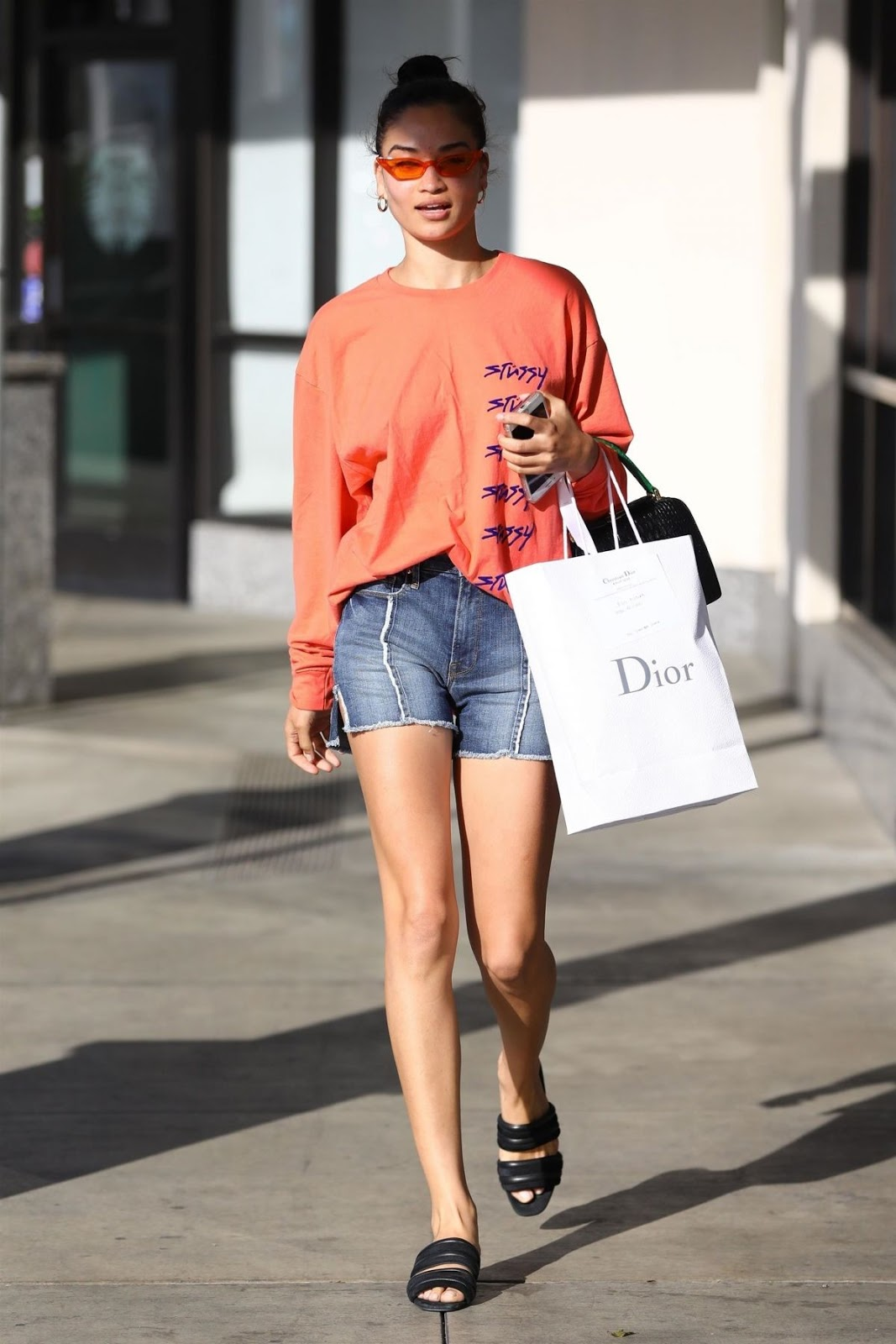 SHANINA SHAIK in Denim Shorts Leaves a Skin Care Clinic in LA
