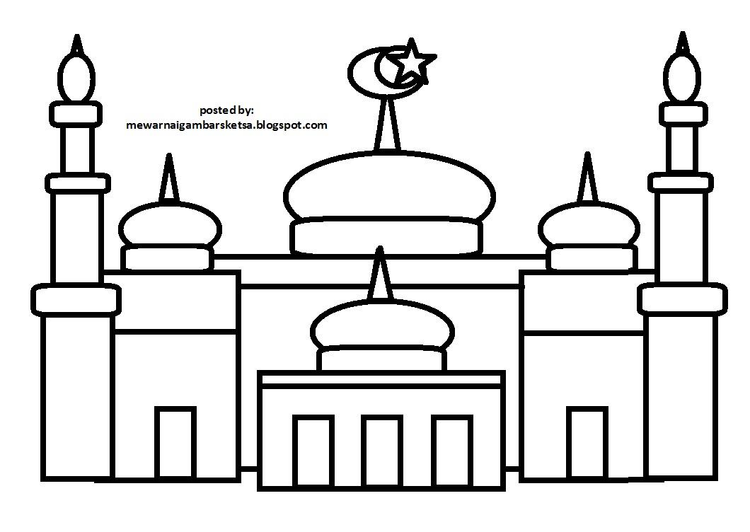 94 Mewarnai Gambar Sketsa Rumah Ibadah Di Indonesia Terbaru