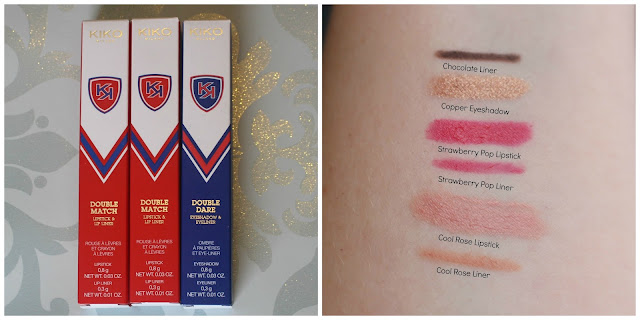 Kiko Cosmetics Campus Idol Double Match Lipsticks in Cool Rose and Strawberry Pop, Alongside Double Dare Eyeshadow and liner in Copper and Chocolate